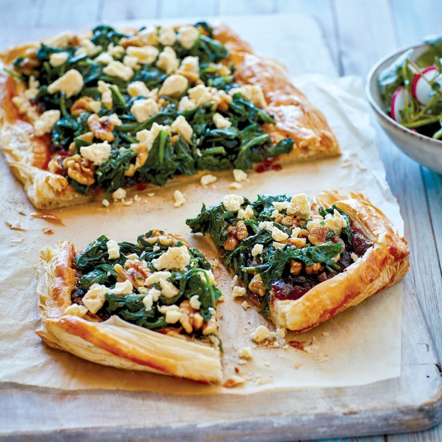 Yorkshire Wensleydale apple and spinach tartlet