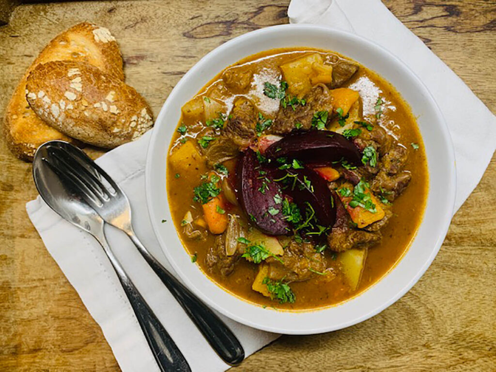 Beef Stew with Butternut Squash and Roast Beetroot