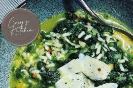 Spinach and Chilli Risotto Soup